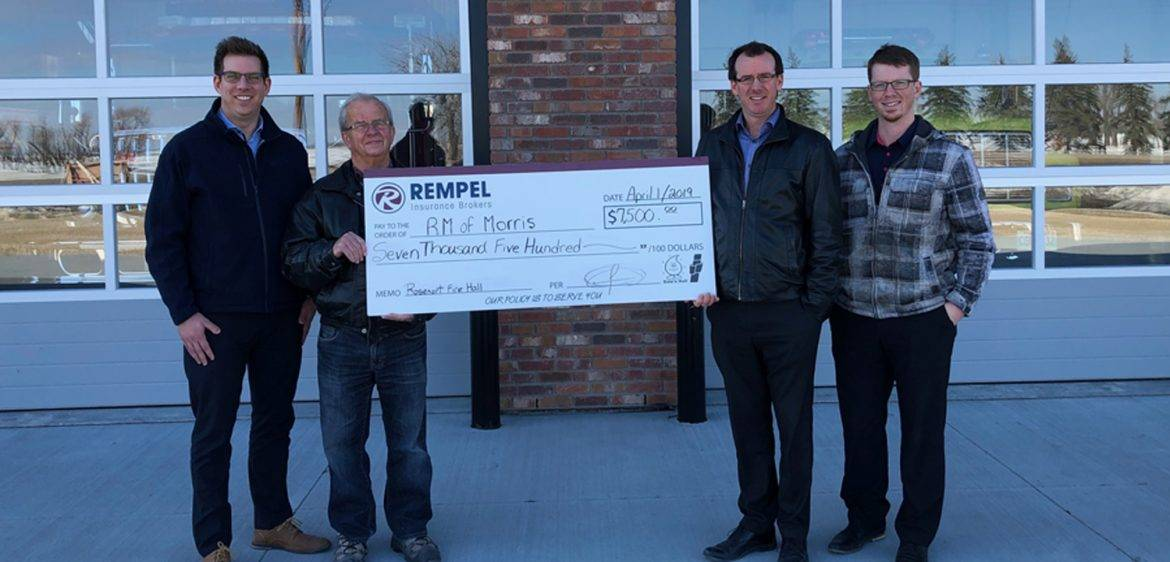 Rempel Insurance Donates $7,500 to New Rosenort Firehall